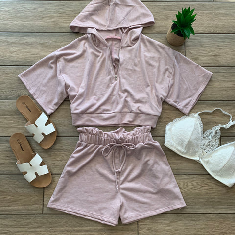 MILEY Hoodie 2 Piece SET (Blush & Grey)