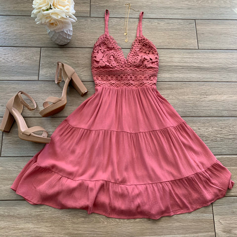 LAUREN Crochet Dress (Marsala)