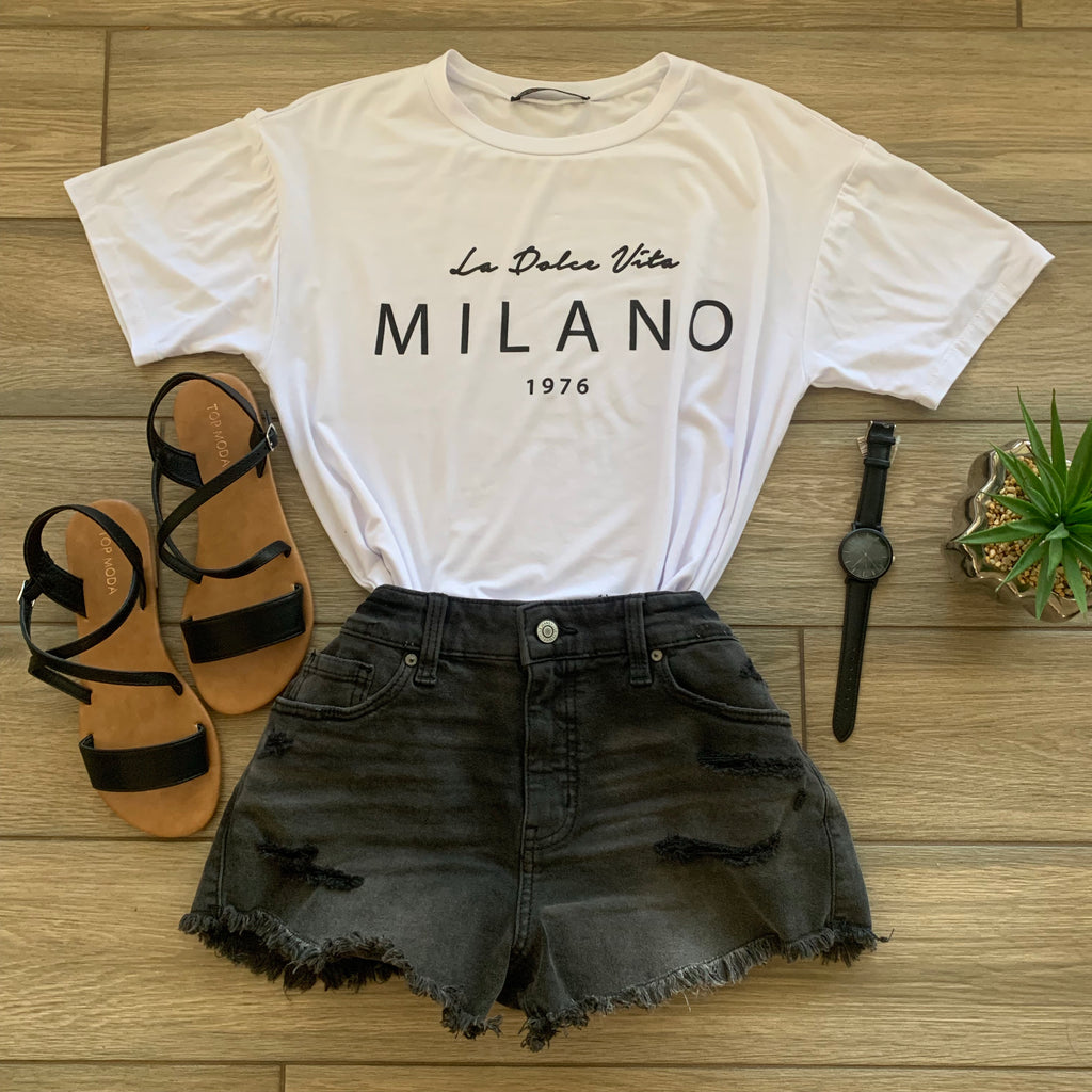 MILANO Tee (White) LARGE ONLY