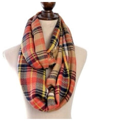 Orange Plaid Infinity Scarf
