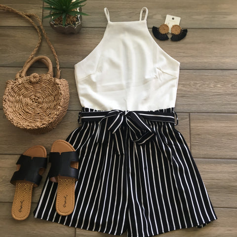 ALEXIS Stripe Romper (Black) size SMALL Only