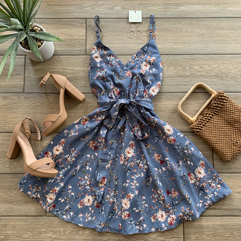 SANDRA Spring Dress (Blue) SMALL Only