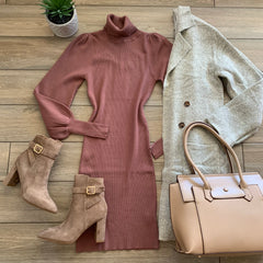 VIVI T Neck Sweater Dress (Taupe) Sizes S-XL