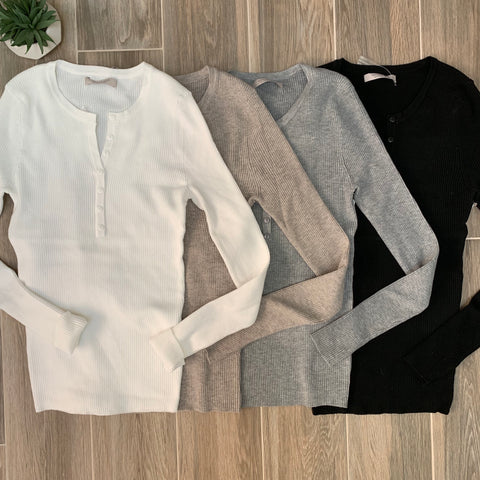 RILIE Ribbed Button Sweaters (4 Colors)