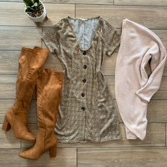 ZOEY Plaid Dress (Brown)