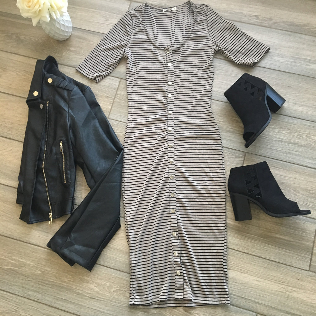 VIVI Button Midi Dress (Taupe) size SMALL Only