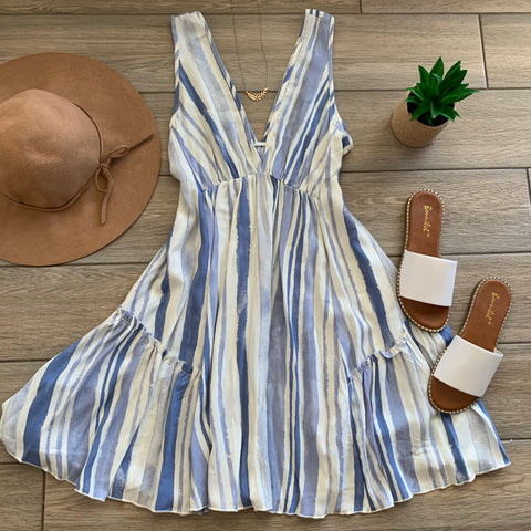 CAMILLE  Stripe Dress (Blue Stripe)