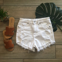 LULU High Waist Denim Shorts (White)