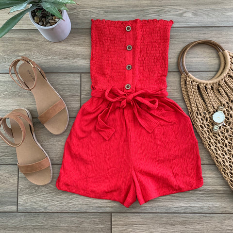 CARIN Pocket Romper (Red) Size LARGE Only