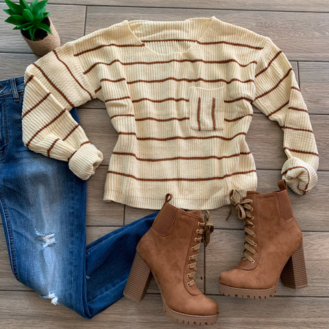 KRISTA Stripe Sweater (Cream/Rust) one LARGE left