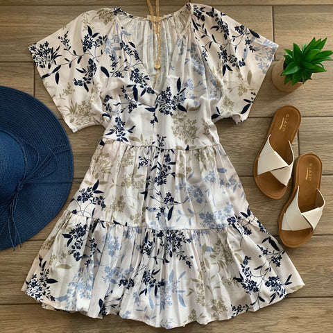 ARI Floral Dress (Ivory) One MEDIUM Left