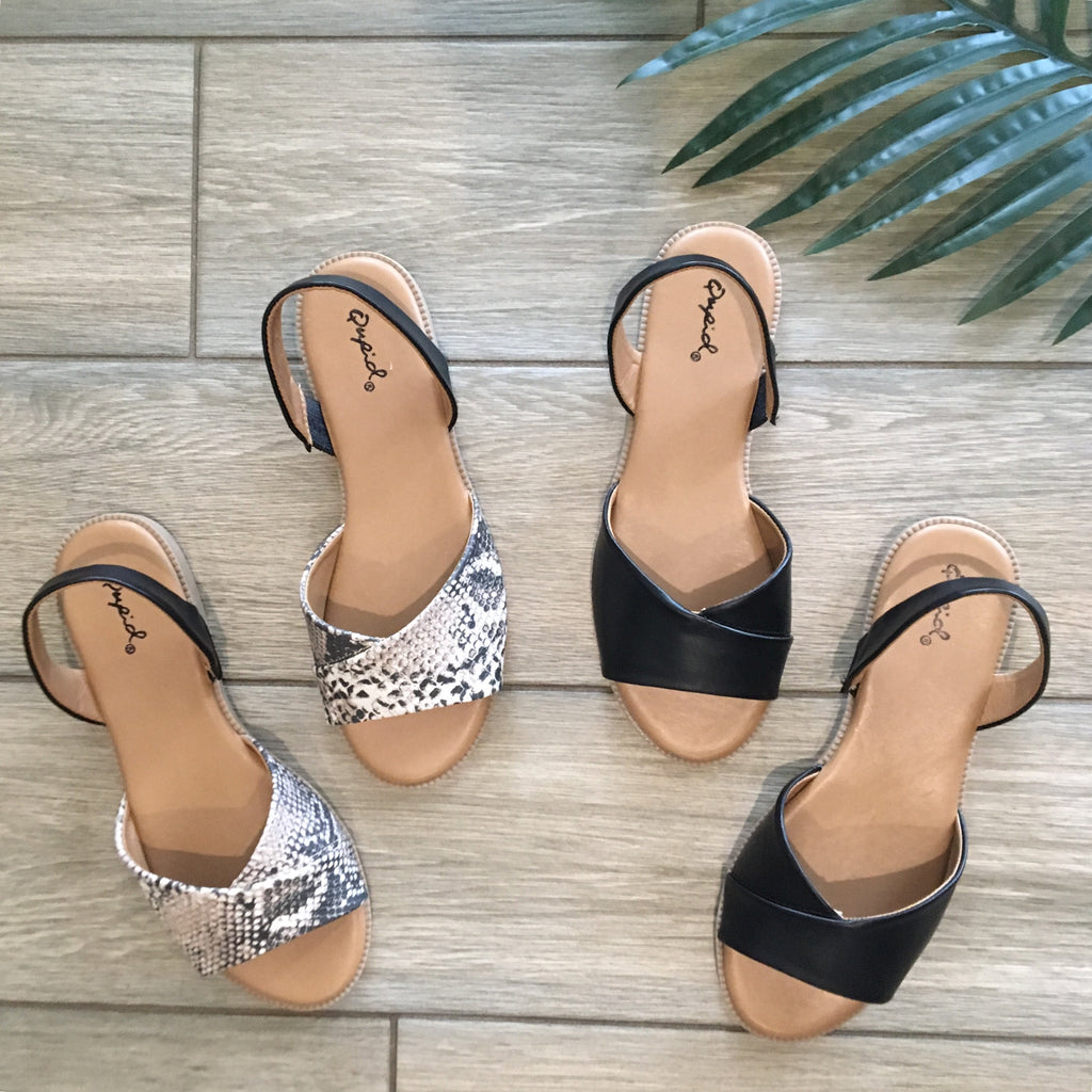 MOD Sling Back Sandals (Snakeskin & Black)
