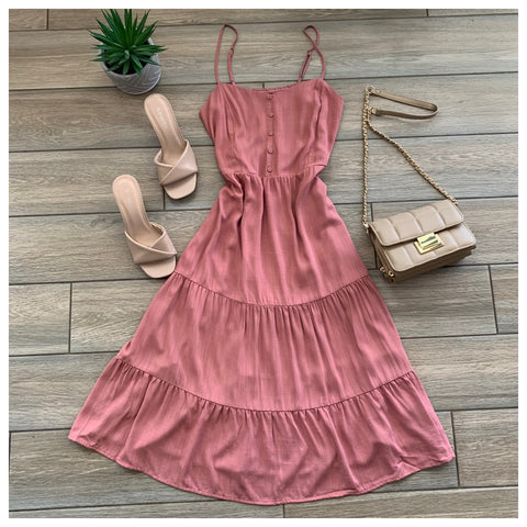 PRARIE Tiered Dress (Mauve)