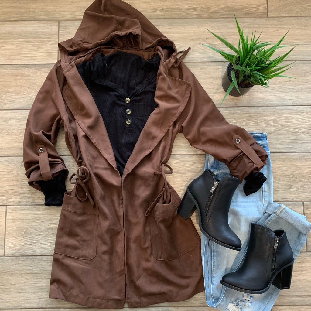 CASSIDY Drawstring Hoodie Jacket (Chocolate)