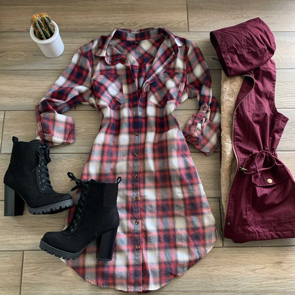 NATASHA Plaid Pocket Dress (Wine)