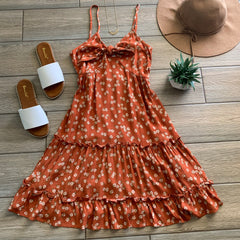 LANA Floral Bow Dress (Rust) LARGE Only