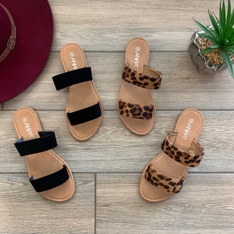 KERRI Sandals (Black & Leopard)