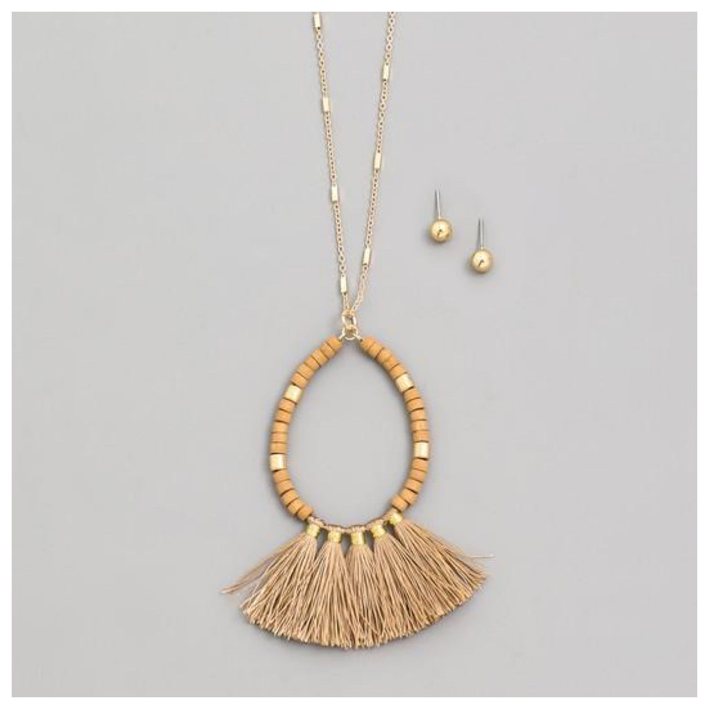 Tassel Wood Gold Necklace
