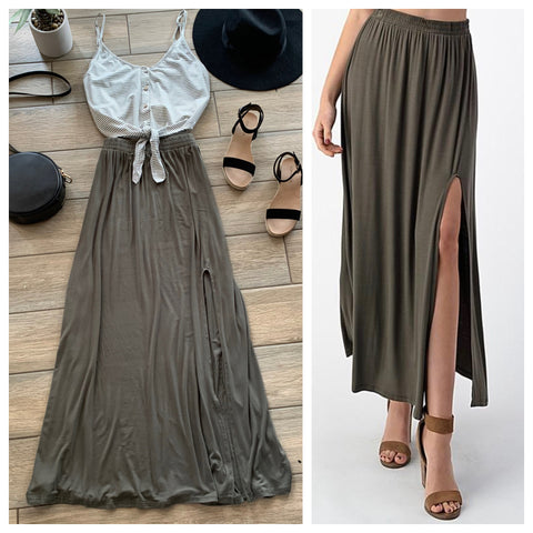 MARILYN Maxi Skirt (Olive & Black)