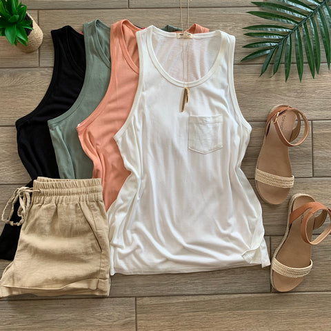 RACHEL Simple Pocket Tanks (4 Colors) LARGE Olive Only