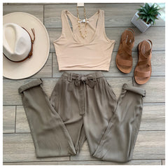 ZARA Tie Pants (Khaki) size LARGE Only