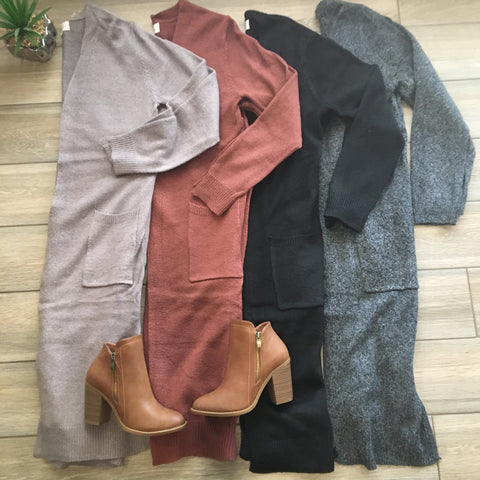 ROXIE Long Cardigans W Side Slits (4 Colors)
