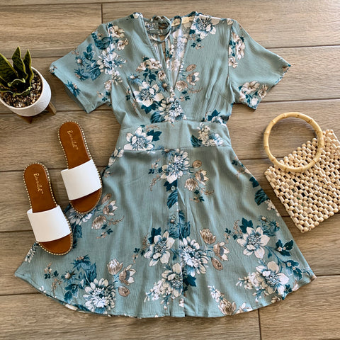 MILLIE Floral Dress (Sage) LARGE Only