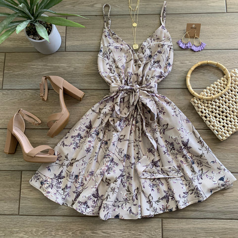 SANDRA Floral Dress (Taupe) LARGE Only