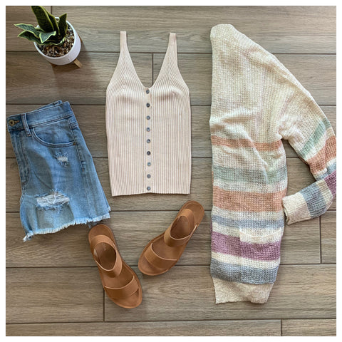 HENSLEY Button Knit Tank (Nude)