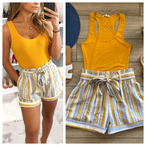 HEIDI Stripe Shorts (Mustard) LARGE ONLY