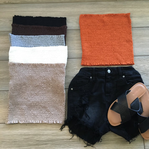 SAM Smock Tube Tops-ONE SIZE, Orange & Brown Only
