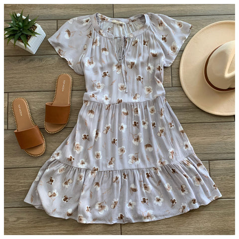 ALYSSA Floral Dress (Grey)