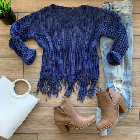 IRMA Fringe Sweater (Blue)