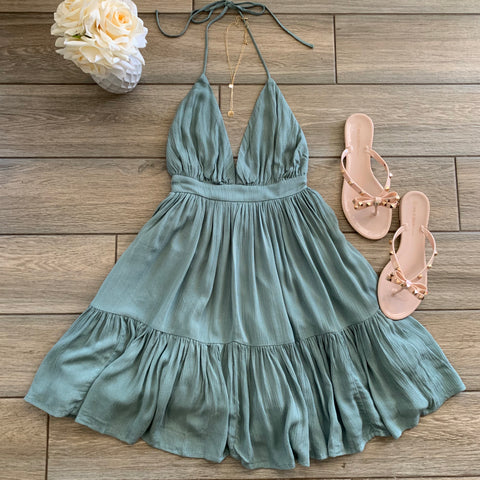 MEGAN Halter Dress (Sage)
