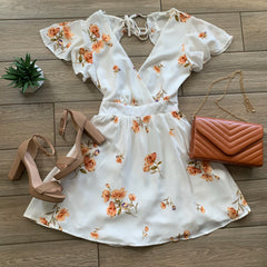 DAHLIA FLoral Dress (Ivory) One MEDIUM left