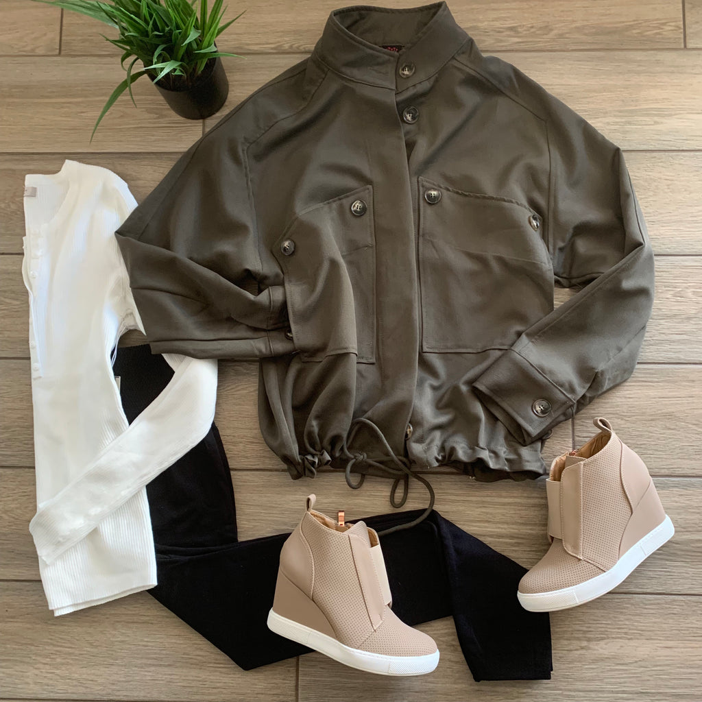 KARMA Button Jacket (Olive) LARGE Only