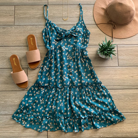 LANA Floral Bow Dress (TEAL) LARGE Only