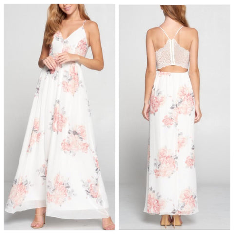 ANASTASIA Floral Maxi Dress (Ivory)