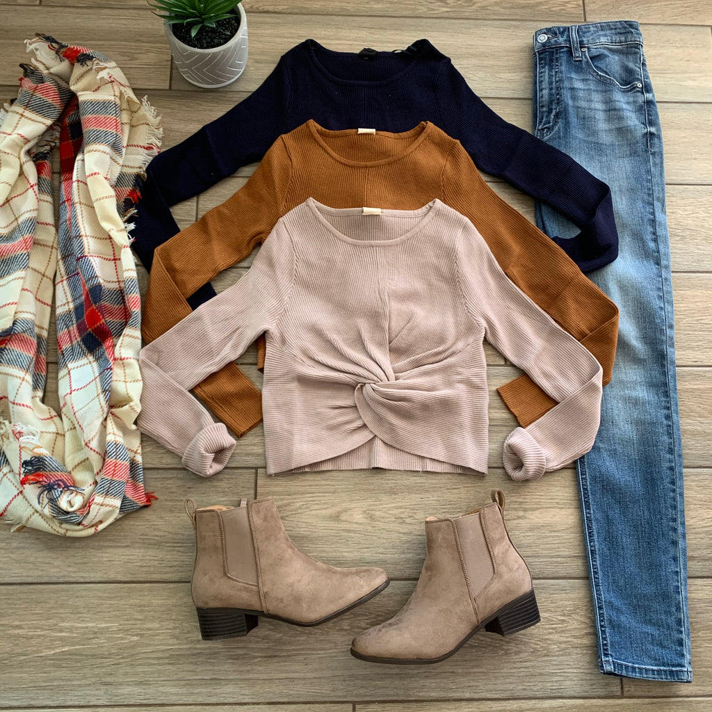 LAURA Twist Crop Sweaters (Taupe, Rust & Navy)