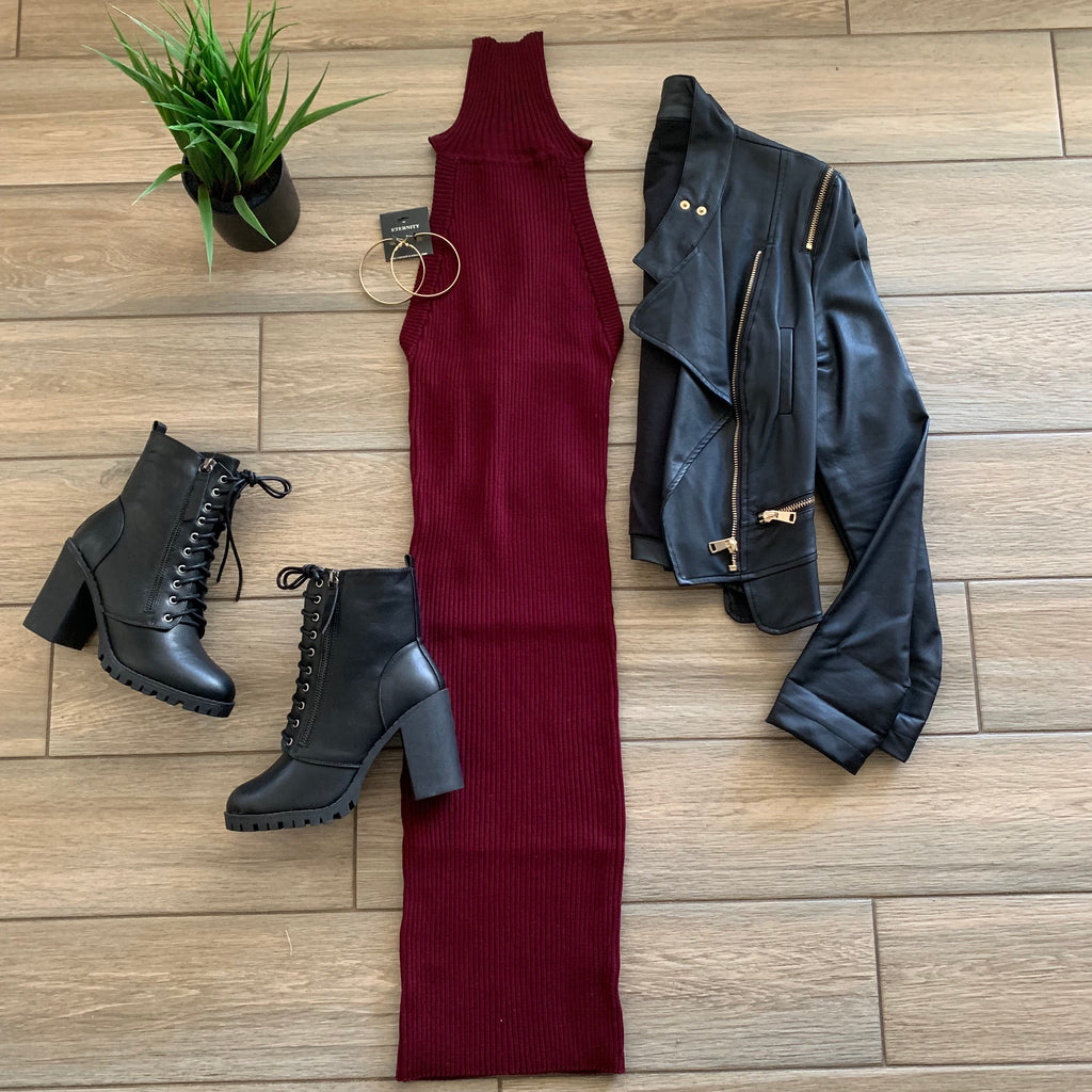 ZENA Turtle Neck Midi Dress (Wine)