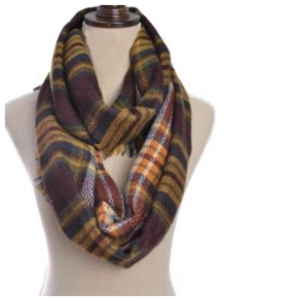 Wine Plaid Infinity Scarf