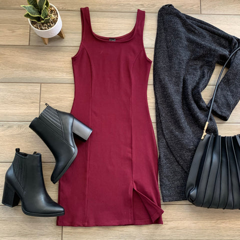 KARINA Ribbed Tank Dress (Wine)