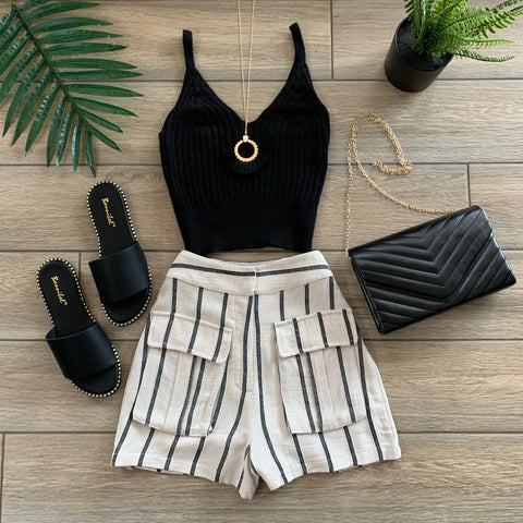 VAL Stripe Shorts (Taupe)
