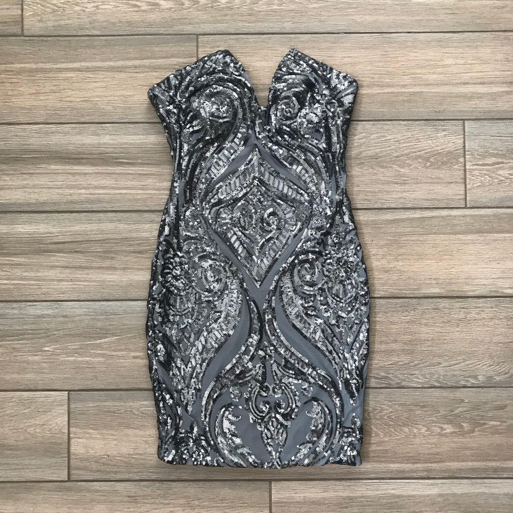 Tawny Sequin Dress (Gray-blue)