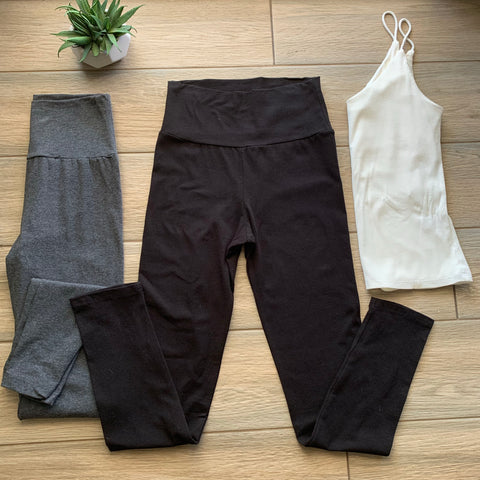 WIDE Waistband Leggings SET OF TWO (Black & Charcoal)
