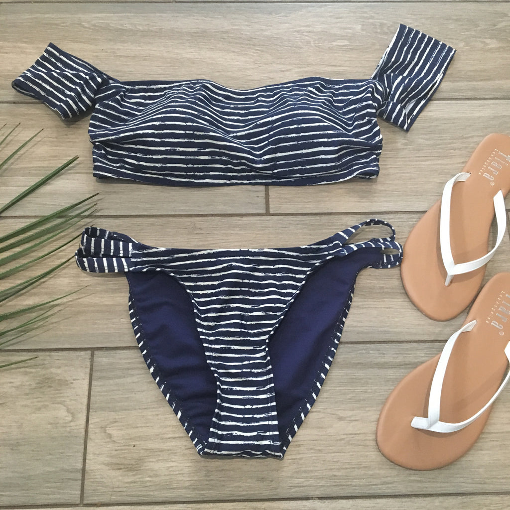 FELICITY Stripe Suit (Navy) SMALL ONLY