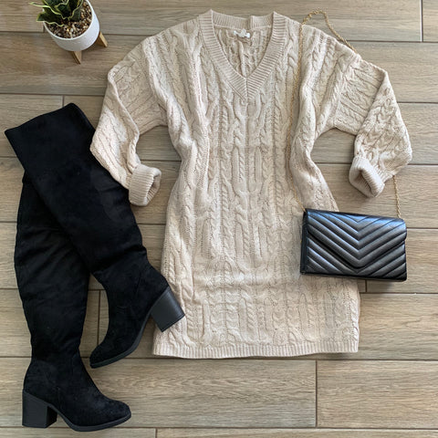 NAOMI Sweater Dress (Taupe) LARGE Only