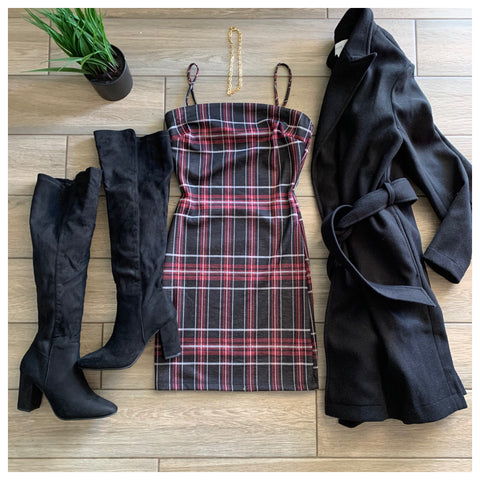 KATE Plaid Dress (Wine/blk)