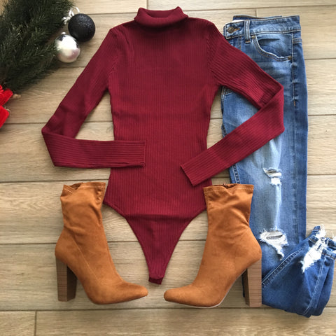 TORI Bodysuit (Wine & Rust)