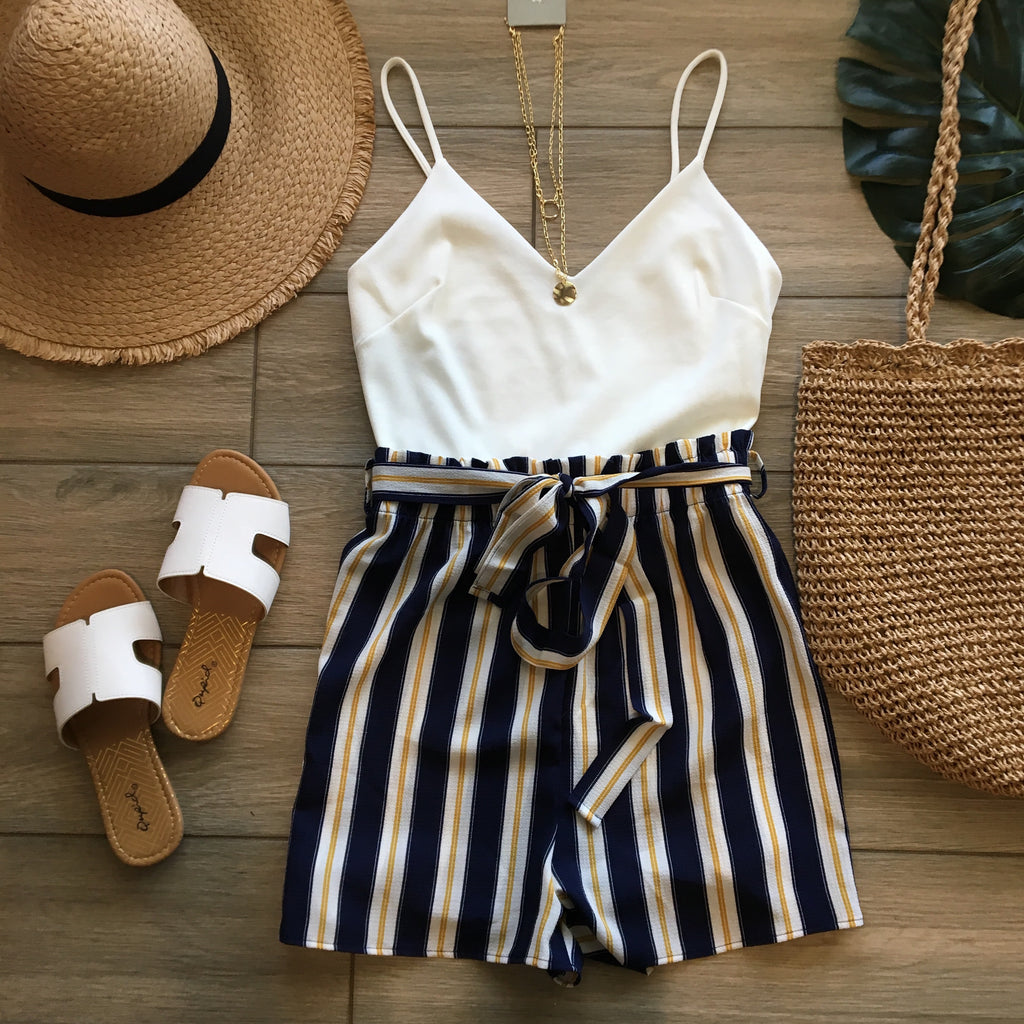 CHRISTINE Stripe Romper (Navy) SMALL ONLY